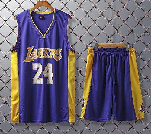 JX-PEP Basketball Uniformen Lakers # 24 Retro Basketball Sommer Trikots Fan Shirt Weste Sleeveless Sportswear Atmungsaktive Sportuniformen,Lila,L