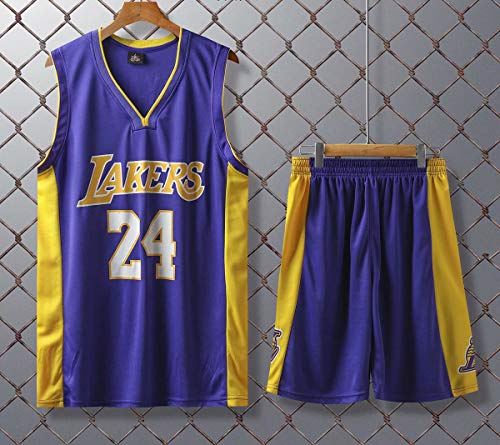 JX-PEP Basketball Uniformen Lakers # 24 Kobe Bryant Retro Basketball Sommer Trikots Fan Shirt-Weste-Sleeveless Sportkleidung Breathable Sport Uniformen,Lila,L