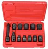 KS Tools 515.0112 - Coffret de douilles à chocs 6 pans 1/2'' - 10 douilles, cardan, rallonge - En Chrome Molybdène - 12 pièces