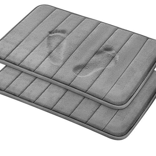 Magnificent Memory Foam Bath Mat, 2 Pack, 20 x 32 Bathroom Rugs, Non Slip Ultra Absorbent, Grey