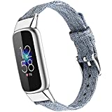 NINKI Compatible Fitbit Luxe SE& Fitbit Luxe Bands for Men Blue Small,Soft Woven Fabric Strap Wrist Band Blue Fitbit Luxe Replacement Bands for Fitbit Luxe Fitness Tracker Accessories Girls(Sky Blue)