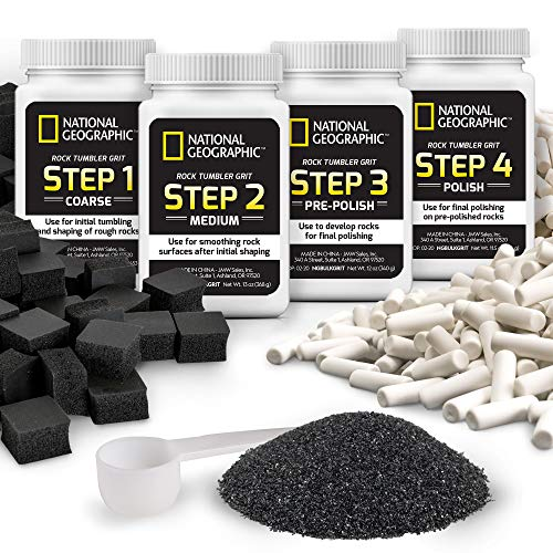 NATIONAL GEOGRAPHIC Rock Tumbler Media – The Ultimate Rock Polishing Supplies Kit, 4 Stage Bulk Rock Tumbler Grit, 1.5 Pounds of Ceramic Pellets, GemFoam Polishing Tumbling Media