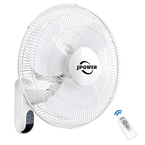 JPOWER 16 Inch Wall Mount Fan With Remote,2400CFM Mountable Oscillating Fan With 3 Speed Settings,Adjustable Tilt, Lightning Deal