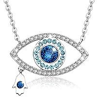 MEGA CREATIVE JEWELRY Damen Nazar Kette Blaue Auge Halskette Fatimas Hand Anhänger mit Kristalle Schmuck Geschenke für Frauen