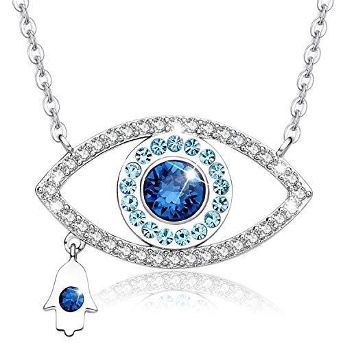 MEGA CREATIVE JEWELRY Collar Ojo Azul Mano Hamsa Colgante para Mujer Regalo Madre Esposa Abuela Niñas Joyería Plata 925 con Cristales