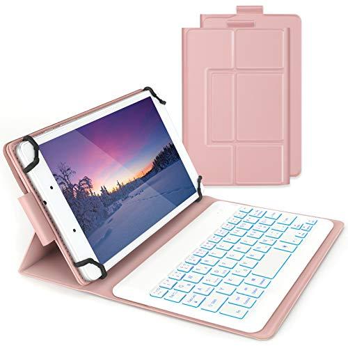 Beleuchtete Tastatur Hülle für alle 7-8 Zoll Tablet, Bluetooth Wiederaufladbare Funktastatur mit Schutzhülle für iPad, Android, Windows Tablet, QWERTZ Deutsches Layout, Rosagold