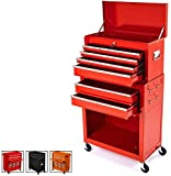 Big Tool Chest,Removable 2 In 1 Tool Box,8-Drawer Tool Storage,Detachable Tool Chest with 4 Universal Wheels (2 PCS Lockable),Keyed Locking System Toolbox Organizer,Red