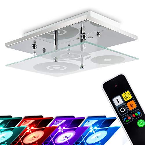 LED plafondlamp Everlight, vierkante plafondlamp in chroom van glas, 3-vlam, incl. kleurwisselaar & afstandsbediening, 3 x G4 per 35 Watt, LED 0,18 Watt, de LED's kunnen naar wens in- en uitgeschakeld worden.
