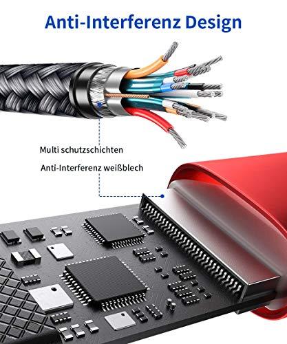 JSAUX USB C HDMI Adapter 4K@60Hz, USB Typ C zu HDMI Adapter [Thunderbolt 3] Kompatibel mit MacBook Pro 2019/2018, iPad Pro 2020, Dell XPS 13/15, Samsung S20/S20+/Note20, Huawei P40/P30/P20 Rot