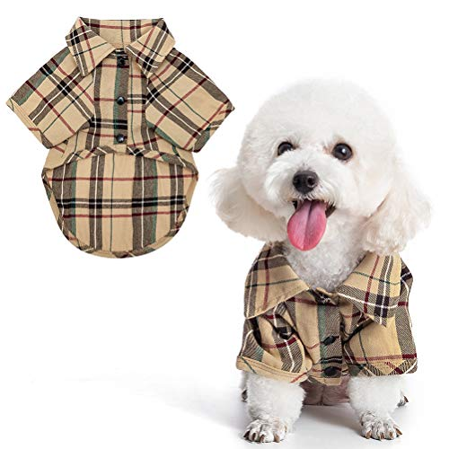 Small Dog Shirt - Clothing Cat Lapel Costume Polo Apparel Plaid Puppy Fitout for Pet Small