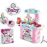 Puppen Pflegecenter für Spielzeugpuppen max 43 cm mit Waschbecken,Waschmaschine, Tischsitz,...
