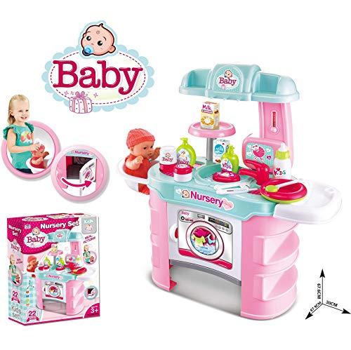 Puppen Pflegecenter für Spielzeugpuppen max 43 cm mit Waschbecken,Waschmaschine, Tischsitz, Thermometer und viel Zubehör - komplettes Spielset ohne Puppe