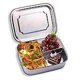 Edelstahl Brotdose, Auslaufsicher Bento Box BPA frei ,3 Fächer Edelstahl Auslaufsicher Brotbüchse Jausenbox,Spülmaschinenfest, 16.5 x 12.5x 6,2 cm, 1000ml