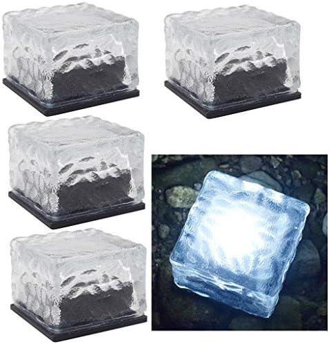 DSDecor 4 Pack Solar Glass Brick Lights Ice Cube Lights Outdoor Waterproof LED Landscape Light product image