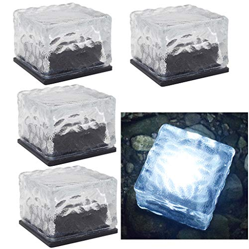 DSDecor 4 Pack Solar Glass Brick Lights Ice Cube Lights Outdoor Waterproof LED Landscape Light Buried Light Square Cube Frosted Glass Light for Garden Lawn Pathway Yard Patio (Cool White)
