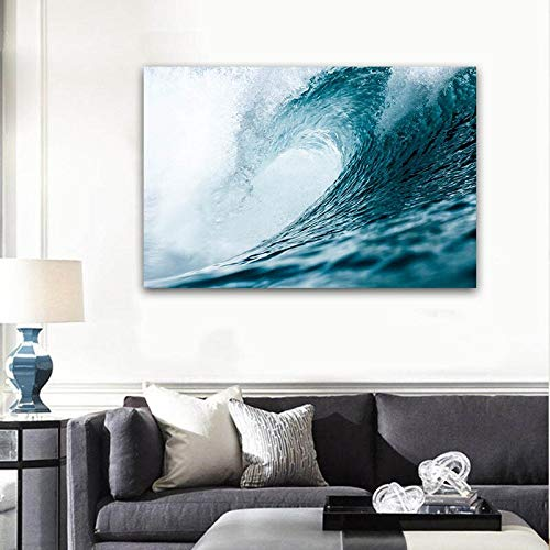 wZUN Stampa Astratta Oceano Onda Paesaggio Marino Tela Pittura Arte Tradizionale Paesaggio Carta da Parati Moderna murale Soggiorno Poster 50X75 cm