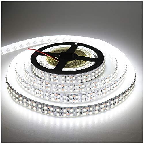 LEDENET Cold White 5M Double Row 3528 SMD 1200LEDs Flexible Strip Tape Light 240LEDs/M Ribbon Lamp DC 12V 16.4Ft (Cold White Strip)