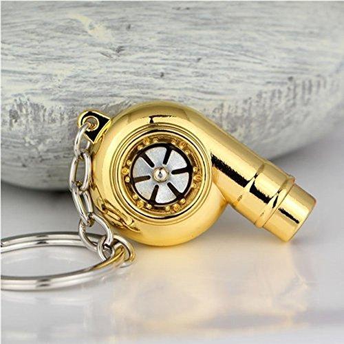 Tuqiang® 1 x metalen chroom turbo sleutelhanger fluitend geen roest goud