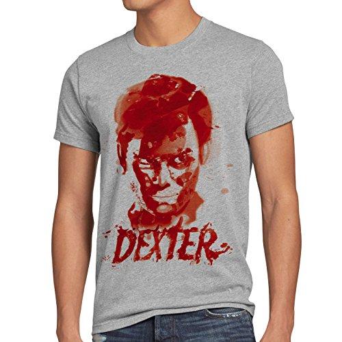 style3 Dexter reguero de Sangre Camiseta para Hombre T-Shirt Erie Asesinato Morgan, Talla:3XL, Color:Gris Brezo