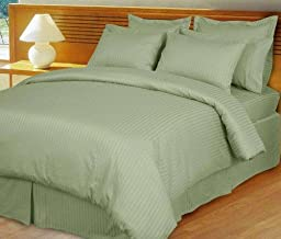1200 Thread Count Three (3) Piece Queen Size Stripe Duvet Cover Set, 100% Egyptian Cotton, Premium Hotel Quality Queen Green 1