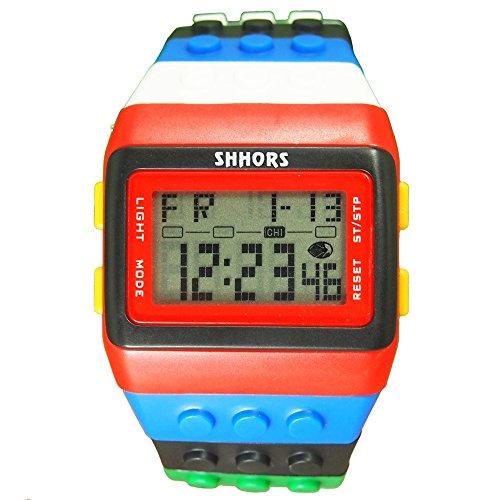 HWCOO Schöne Coole Uhr SHHORS Middle School Student Uhr Regenbogen Multifunktions-Armbanduhr Großhandel 30 Meter wasserdichte Uhr (Color : 1)
