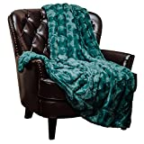 Chanasya Fuzzy Faux Fur Soft Wave Embossed Throw Blanket - Cozy and Warm Lightweight Reversible Sherpa for Couch, Home, Living Room, and Bedroom Décor (50x65 Inches) Teal