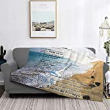 Footprints in The Sand Poem Inspirational Ultra-Soft Micro Fleece Blanket Home Decor Warm Anti-Pilling Flannel Throw Blanket for Couch Bed Sofa