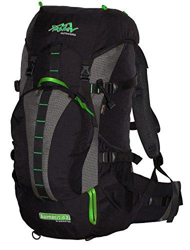 Tashev Sac à Dos de randonnée, de Trekking, de Camping, pour activités en Plein air Daypack Summit 42 (Noir-Vert)
