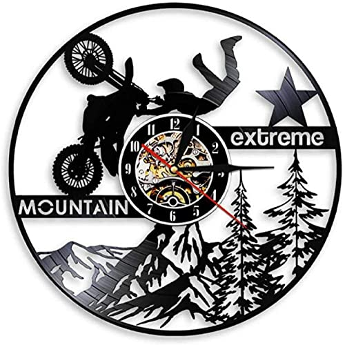 mbbvv Mountain Extreme Sports LED Lights Motorsport Ride Exclusive Vinyl Motorcycle Wall Clock Dirt Bike Watch