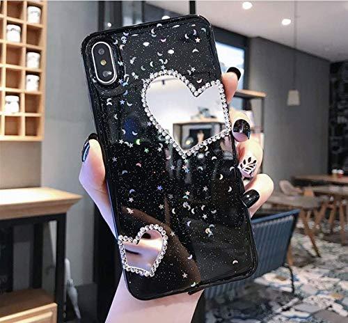 Handyhülle Kompatibel mit Huawei Nova 3 Hülle Spiegel Glänzend Glitzer Kristall Strass Diamant Liebe TPU Silikon Handy Hülle Durchsichtige Schutzhülle Case Tasche Etui für Huawei Nova 3, Schwarz