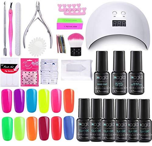Inagla Kit de Esmaltes Semipermanentes 12 Colores en Gel UV LED,Lámpara UV LED para Uñas 24w,Base y Top Coat, Removedor de Uñas y Accesorios (C004)