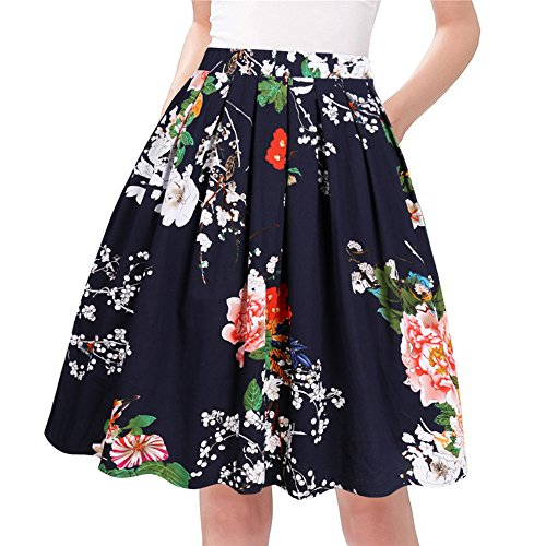 Taydey A-Line Pleated Vintage Skirts for Women (M, Navy Flower)
