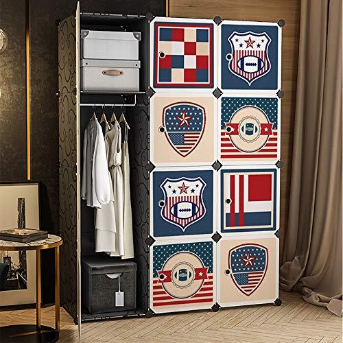 Tragbarer Kleiderschrank Amerikanische Vertikale DIY Speicher Schrank Veranstalter Mit Niedlichen Aufkleber For Ein Wohnzimmer Schlafzimmer Für Flur Wohnzimmer ( Color : Blue , Size : 111x147x47cm )