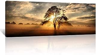 Kreative Arts - Gallery Wrap Canvas Print - Beautiful Sunset Panoramic Canvas Art Print Nightfall Tree Landscape Canvas Prints Ready to Hang 20''x55''