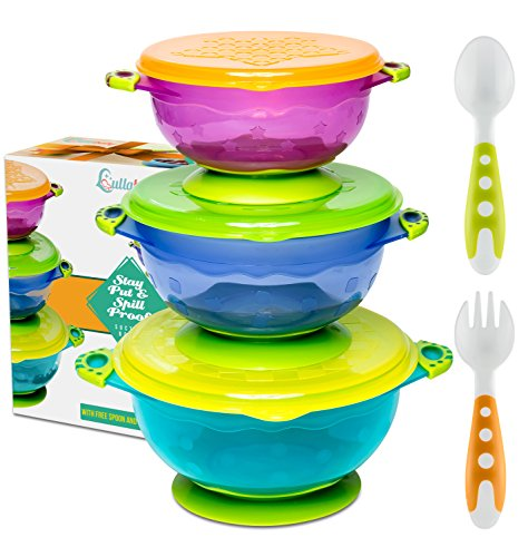 BEST SUCTION BABY BOWLS FOR TODDLERS-Toddler Bowls Baby Feeding Set with Baby Utensils | Bonus Baby Spoons and Baby Fork | To Go Baby Bowl with Secure Lids | Suction Plates | BPA Free Suction Bowl for