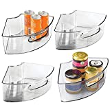 mDesign Deep Plastic Kitchen Cabinet Lazy Susan Storage Organizer Bin with Front Handle - Small Pie-Shaped 1/4 Wedge, 4' High Container - Holds Tea, Coffee, Dry Goods, Pastas - 4 Pack - Smoke Gray