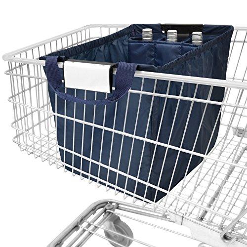 achilles Easy-Carrier, Faltbare Einkaufswagentasche mit Kühleinsatz und 3 Flaschenfächer, Einkaufstasche passend für alle gängigen Einkaufswagen, Navy, 54x35x39 cm