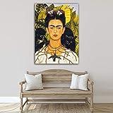 Desconocido Cuadro Lienzo Autorretrato Frida Kahlo Collar con Espinas – Varias Medidas -...