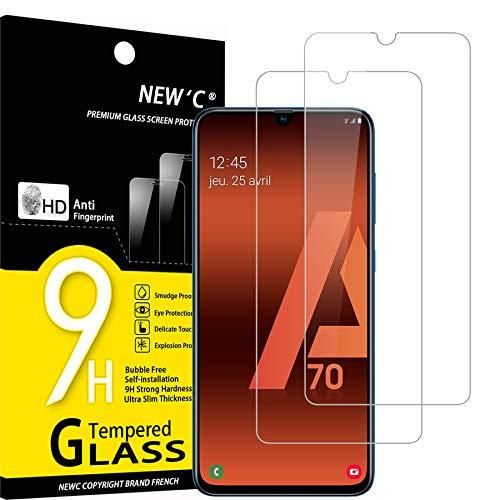 NEW'C Lot de 2, Verre Trempé Compatible avec Samsung Galaxy A70,Film Protection écran sans Bulles d'air Ultra Résistant (0,33mm HD Ultra Transparent) Dureté 9H Glass
