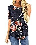 LaLaLa Women's Summer Shirts Casual Loose Crewneck Side Split Tunic Short Sleeve T-Shirts Tops (XXL, B-Black Floral)
