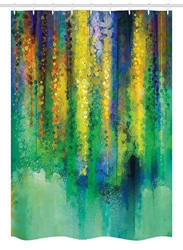 N \ A Duschvorhang mit Wasserfarben-Blumen-Motiv, abstrakter Stil, Frühlingsblumen-Aquarell-Stil, Gemälde, Naturkunst, Stoff, Badezimmer-Dekor-Set mit Haken, 182,9 x 182,9 cm, grün-gelb