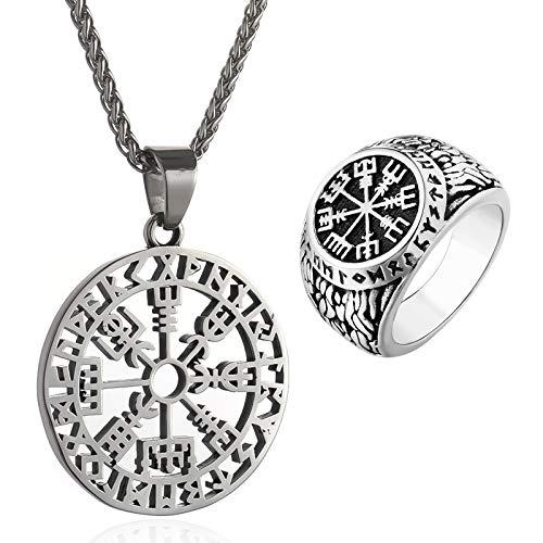 PuuuK Collar Colgante Vintage Nordic Viking Rune Compass Collar Colgante Hombre Viking Titanium Steel Anillo,11