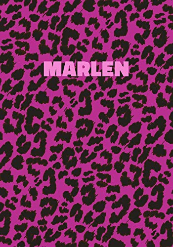 Marlen: Personalized Pink Leopard Print Notebook (Animal Skin Pattern). College Ruled (Lined) Journal for Notes, Diary, Journaling. Wild Cat Theme Design with Cheetah Fur Graphic