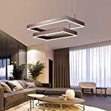 Dimmbar Modern LED Pendelleuchten Höhenverstellbar Esszimmer Lampe Braun Kreative 2 Ringe Eckig Hängeleuchten Kronleuchter Design Wohnzimmer Esstisch Büro Leuchte mit Fernbedienung 84W Ø80CM