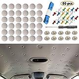 60 botones de reparación de techo de coche para coche, universal, diseño de remaches de fijación para techo de coche, con herramienta de instalación y ajuste a todos los coches
