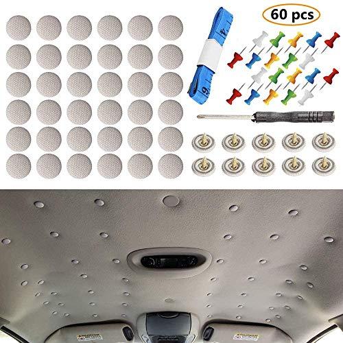 60 botones universales de reparación para el techo del coche con diseño de remaches a presión de franela, con herramienta de instalación y que se adapta a todos los coches