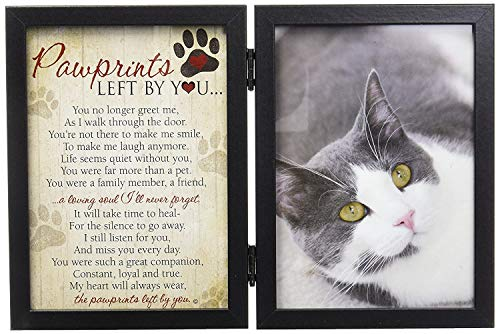 Pawprints Left By You Memorial 5x7 Frame for Cat with Pet Tag