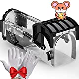 Mouse Trap, Humane Mouse Traps for Indoors, Rodent Trap High Sensitive No Kill, Mousetrap Poison Substitute Friendly for Kids & Pet, Professional Mice Trap Mouse Catcher Reusable & Easy to Use (Black)