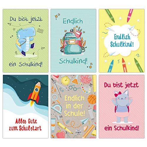 12 Glückwunschkarten zur Einschulung - Motiv Bunt mit Tieren - Geschenk und Grüße für Schulanfänger - Buntes Postkarten Set für Kinder zum Schulanfang - DIN A6