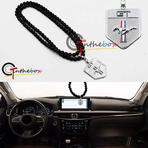 Gtinthebox Jdm Chrome Metal For Ford Mustang Car Rearview Mirror Hanging Ornament Pendant